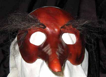 Zanni long nose leather mask with hairy eyebrows