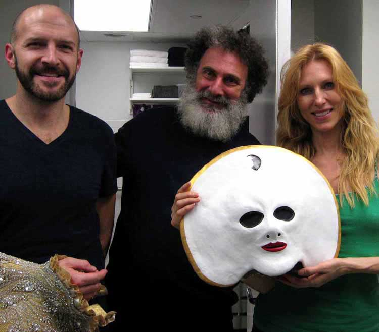 Backstage of Queen of the Night,  Lawrence Bell, Stanley Allan Sherman and Katherine Crockett - with the just finished mask.