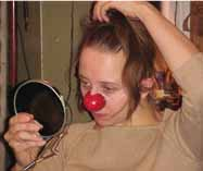 Ariane wearing her just finished clown nose