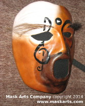 mask with speaker mouth and blending of many faces into one. Music note on the face