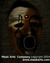 Music mask with a button on the forehead with a red light lighing up the button.