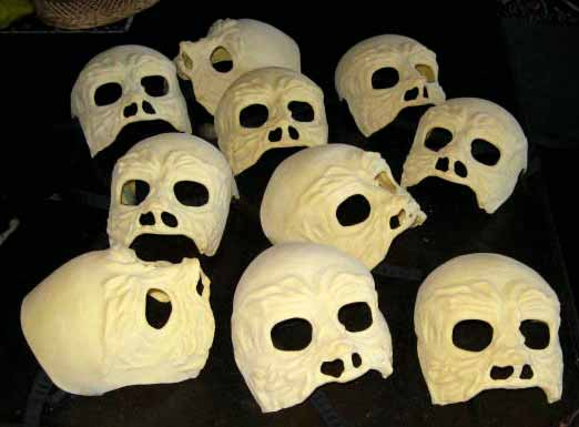 raw unfinish 10 skull masks