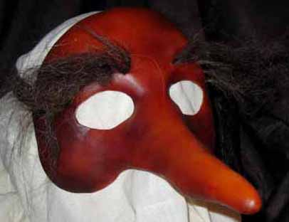 Zanni long nose mask with hairy eyebrows