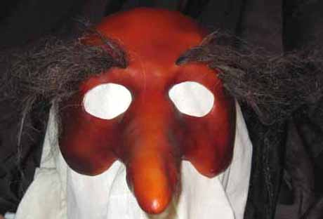 Zanni long nose mask with hairy eyebrows center view
