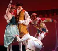 Arlecchino dancing with 3 others