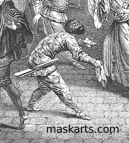 graphic of Arlecchino bowing with a slapstick in his belt