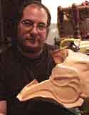 Alfredo Denaia with his unfinished leather mask