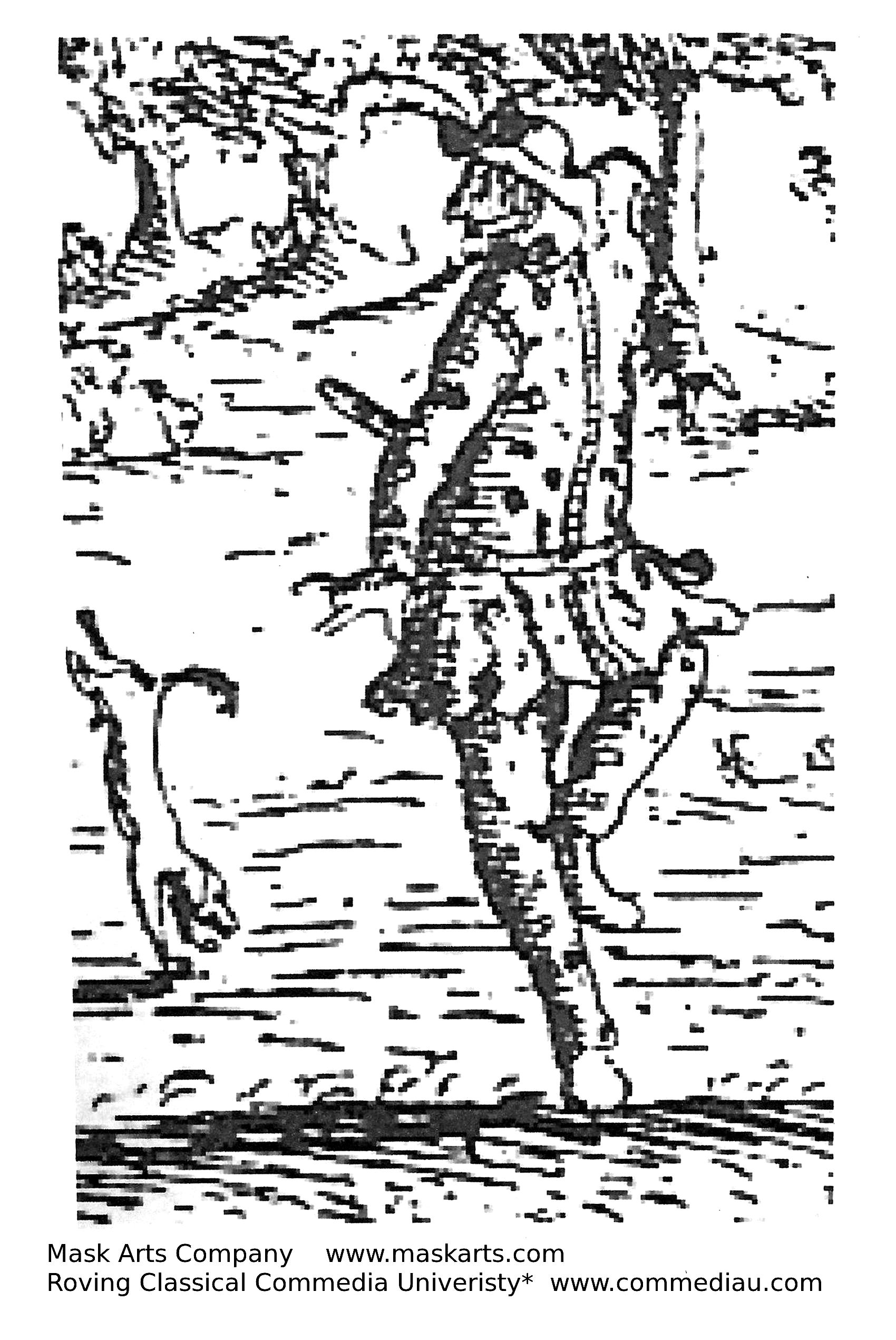 graphic of Arlichenno dancing with a dog walking on its front paws