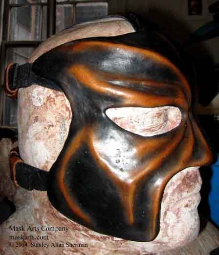 Abyss wrestling mask, black & tan half mask right side