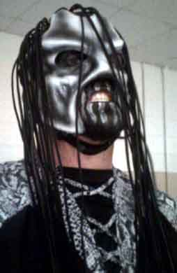 Salem Sinner Sixx Pro wrestling mask - white, gary and black with 25 yard of leather strapping as hair.